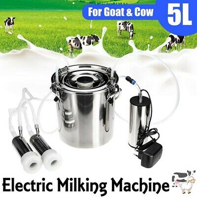 5l Portable Electric Milking Machine Tank Cattle Cow Milker Barrel Farm Engine