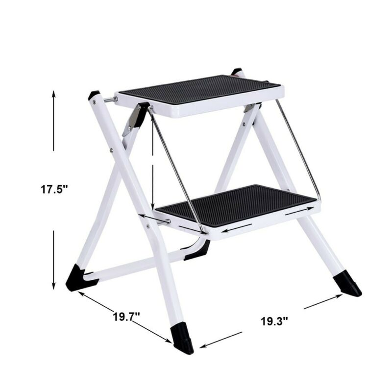 Portable 2 Step Ladder Folding Step Stool Steel Ladder Sturd