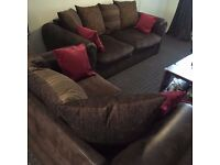 Good Condition DFS 2 Piece Faux Leather Sofa Set Ideal For Small Places