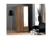 2 Door Osaka Walnut GERMAN WARDROBE - FREE FITTING