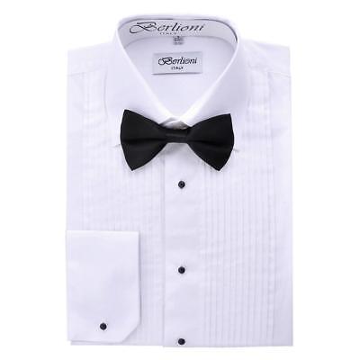 Collar White Shirt - New Berlioni Italy Men's Premium Tuxedo Dress Shirt Laydown Collar Bow-Tie White