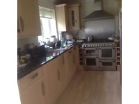 Howdens 'Lyndhurst' Kitchen Wall & Base Cabinets & Black 'Star Galaxy' Granite Worktop
