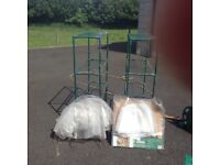 2 sets of garden shelves and 2 polytunnel son for sale