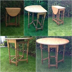 vintage solid oak small dropleaf barley twist gateleg table immaculate condition