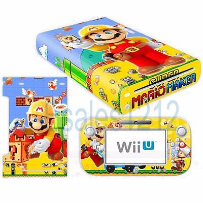 - Super Mario Maker Vinyl Skin Decal Sticker for Nintendo Wii U Console Controller