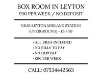Box room. £80 per week. No deposit. No bills. Near Leyton Midland Station (E10 6JJ)