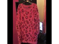 Pink Leopard Print Jumper Size 16