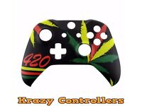 Xbox One S Wireless Controller Custom Weed 420 Replacement Front Shell Faceplate - New