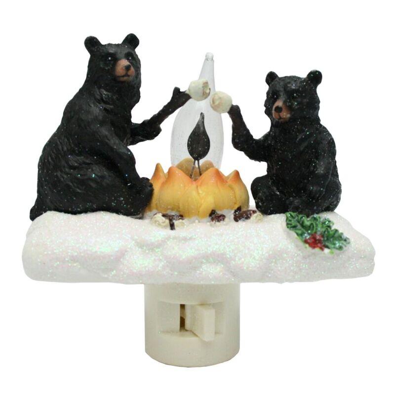 Black Bears Roasting Marshmallows by Campfire Christmas Flicker Night Light