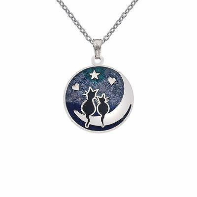 New Silver Tone Blue Enamel Love Cats on the Moon Pendant Necklace in Gift Box
