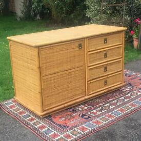 Mid Century Dal Vera Rattan Cane Cabinet with Drawers / Shelves Military Brass Handles