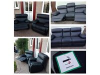 Reclining Leather sofa and 2 chairs