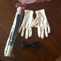 Magician Wand, Gloves and Clip On Bow Tie - New