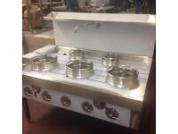 CHINESE WOK COOKER, NEW, 3+2, CHOICE OF BURNERS, NATURAL GAS OR LPG, NEW REMOVABLE CAST IRON RINGS!!