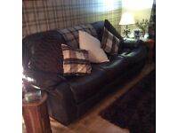 2&3 seater brown leather recliner sofas