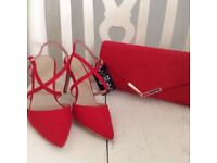 Brand new Red with labels strapped shoes size 4 with matching bag