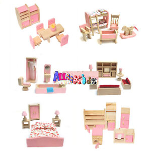 Brand-NEW-Wooden-Doll-House-Furniture-Miniature-6-Rooms-Set-4-Persons