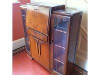 Vintage Art Deco Bureau Desk Writing Table Display Drinks Cabinet Storage Cupboard / Can Deliver