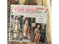Cream and red Lawn embroidered Pakistani clothes
