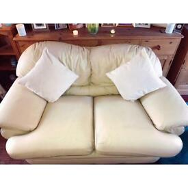 Cream leather two seater sofa & chair £70