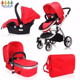 Baby Girls Black Boys Silver Unisex Red Grey Lightweight Pushchair 3in1 Travel System Pram Carseat