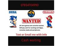 Nintendo nes snes n64 GameCube games and consoles wanted