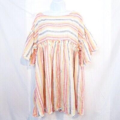 Free People Womens Tunic Dress Orange Stripe Ruffle Keyhole Back Cotton L New