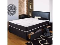 Double storage divan bed WITH MEMORY FOAM MATTRESS WITH 2 drawers with in black & white