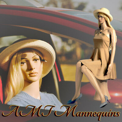 Female Mannequin Pedestal Car Show Display Body Girl Manikin Sitting F62wigs