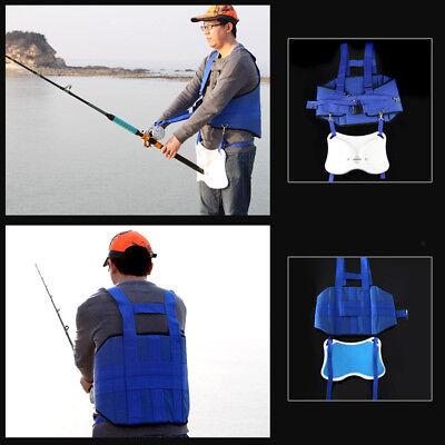 Boat Fishing Rod Holder & Stand Up Fighting Belt Shoulder Back Harness Blue