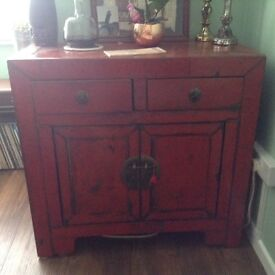 Chinese style lacquered red side board