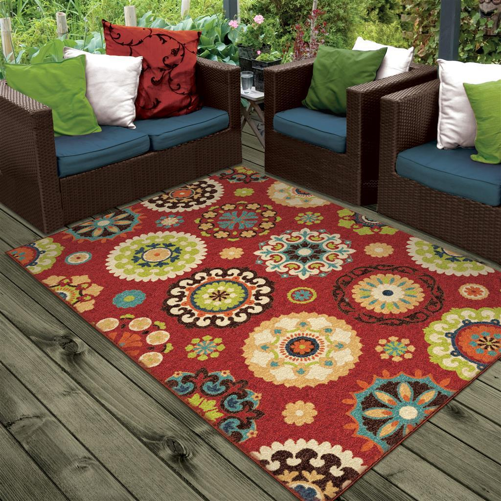 4x6  Contemporary Modern Transitional Indoor Outdoor Red Are