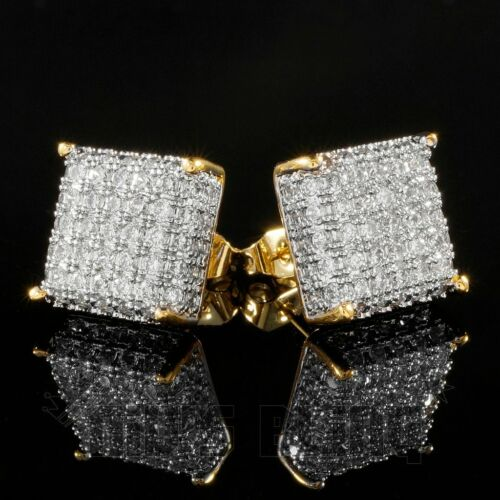 18K Gold Square Stud Earring Bling Out Iced AAA Lab Diamond Micropave 8G