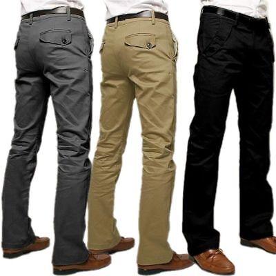 Fashion Mens Formal Business Pants Slim Fit Straight-Leg Casual Dress Trousers