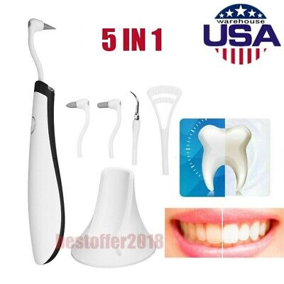 Oral Clean 5 In1 Sonic Dental Scaler Teeth Whitening Plaque Stains Remover Tool