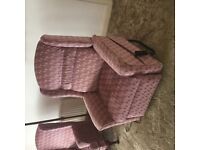 Sofa with wing chair and option of riser/recliner