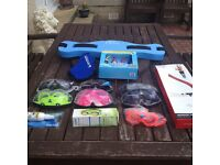 8 PAIR SWIMMING GLASSES/ GOOGLES DIVE ROCKETS SNORKLE ETC ETC
