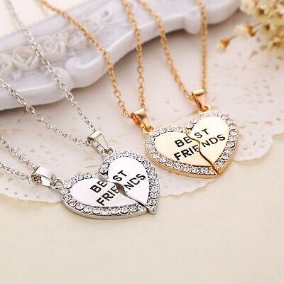 Best Friend Heart Silver Tone Rhinestone 2 Pendants Necklace Bff Friendship