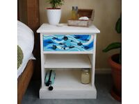 Upcycled sold pine hand painted custom made bedside table