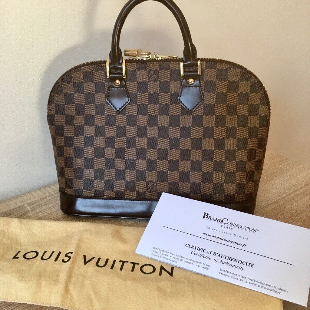 b41c47ca6230 Genuine Louis Vuitton Alma Damier Ebene PM with dustbag and certificate of  authenticity