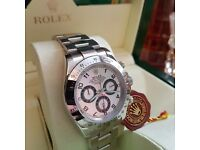 New mens bagged & boxed rolex daytona with silver strap & silver face