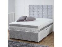 【SAME DAY DELIVERY】DOUBLE CRUSHED VELVET DIVAN BED BASE + SEMI ORTHOPAEDIC OR DEEP QUILTED MATTRESS