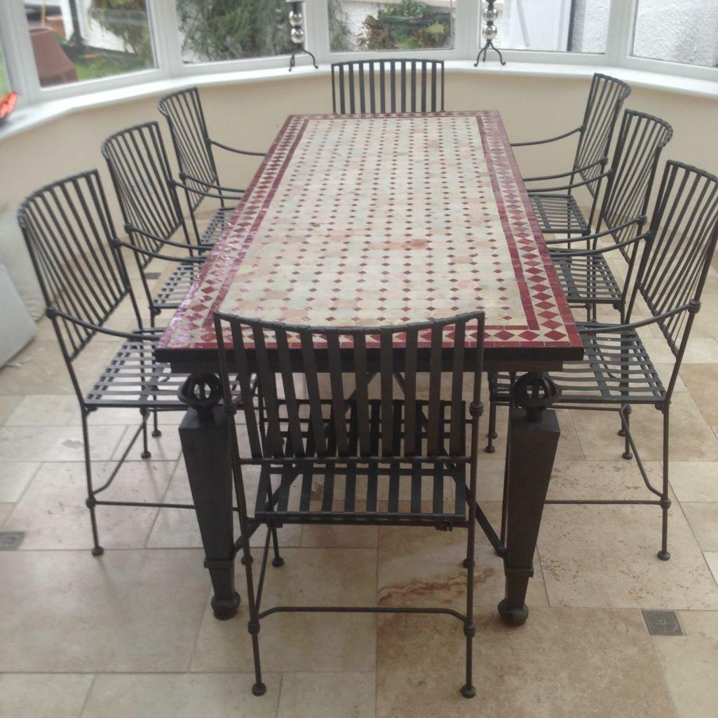 Tile And Iron Dining Room Table Especially Suitable For A Conservatory In
