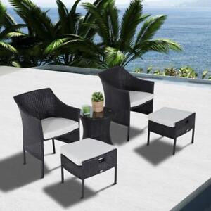 Outdoor Indoor 5 pcs Wicker Rattan Coffee Set Garden Patio Furniture Club Chair Table and Ottoman with Cushion