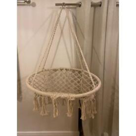 Bohemian swing macrame beige cotton indoor outdoor hanging boho chair
