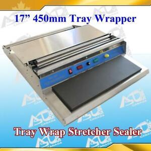 17   450mm Food Tray Wrapper Stretcher Film Sealer 110v new Item# 181001