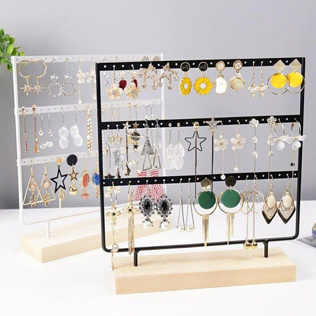 Jewellery - 2/3 Layer Wooden Earring Display Stand Holder Jewelry Necklace Rack Organizer