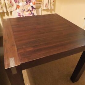 Nice Square Solid Dining Table Very Good condition seats 2 or 4 Dark Walnut colour plank top