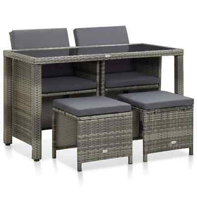 Garden Furniture - vidaXL Outdoor Dining Set with Cushions 5 Pieces Poly Rattan Gray Patio Garden