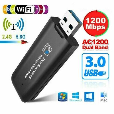 Adaptador WiFi 1200Mbps 2.4/5.8GHz USB 3.0 Receptor WLAN inalámbrico Doble banda